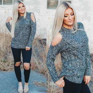 Grey Thick open shoulder sweater